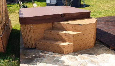 Luxusní zahradní vířivka Canadian Spa International® s unikátním opláštěním Lacan TT - masážní vířivé bazény - Spa-studio