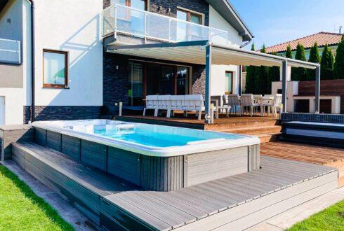 Nautilus XL - luxusní plavecký vířivý bazén s protiproudem a oddělenou whirlpool zóno - Canadian Spa International®